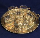 Libbey Continental Glass Gold Tone 1960's Greek Key Design Set of 6/Serving tray