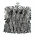 Antique Art Nouveau French .800 Silver Chain Mail Mesh Lady's Chatelaine Purse