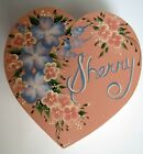 Vintage Pink Shaker Heart Wood Box Hand Painted Lid Design Flowers Leaves Sherry