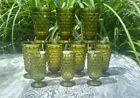 3- 6oz Green INDIANA GLASS FOOTED TUMBLERS Whitehall Colony Cube