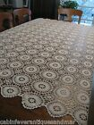 Vintage Ecru Delicate Fillet Crochet Tablecloth Canopy Throw Bedspread 64x80