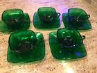 12 Piece VINTAGE Anchor Hocking CHARM FOREST GREEN SQUARE 5 CUPS AND 7 SAUCERS