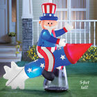 Huge Patriotic Uncle Sam on Rocket 4th of July Outdoor Airblown Inflatable 6 ft