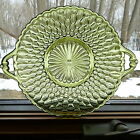 2 Vintage Indiana Glass Honeycomb Pattern Shallow Bowls w/ Handles Avocado Green