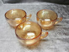 """"""" Iridescent Peach Luster Glass Cups Flower Embossing on Bottom"""