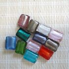 Assorted Lampwork Glass Silver Foil Rectangle Beads 20mm