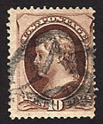 US Stamp 1870 71 10c Jefferson with Grill Scott  139 Used Fancy Cancel