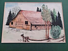 "Vintage 1988 Watercolor Wash painting ""Old Farm"" signed by Stephen Durch"