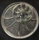 Indiana Glass Clear Pebble Leaf deviled egg and relish plate