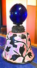 Chinese Blue Glass Hat Finial on Pink enameled Bell with engraved flower design