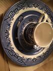 Vintage Churchill England Blue Willow 3pc Set Dinner Plate Cup Saucer Gift NIB