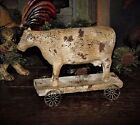 Primitive Countryside Ranch Farmhouse Pull Toy COW ON WHEELS Shelf Sitter