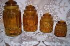 L E Smith Glass Moon and Stars Amber Canister Set