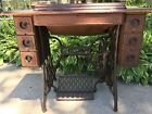 1900's Vintage Singer Treadle Sewing Table With Sewing Machine With Extras