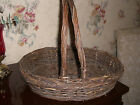 Vintage DOUBLE HANDLE  Basket EASTER Primitive Egg Gathering Market Farm wicker