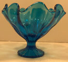 ART DECO BLUE GLASS CANDY DISH BOWL  RUFFLED SCALLOPED 5