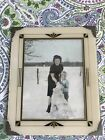 Antique Picture Frame Reverse Painting Black Gold Cream Table Top Art Deco