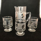 Libbey Starlyte Pitcher with Three Pedestal Glasses