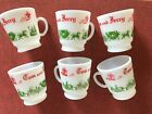 Vintage ~ Set of 6 ~Tom and Jerry Footed Milk Glass Cups by Hazel Atlas ~ Mint