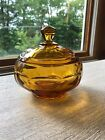 VINTAGE AMBER GLASS CANDY DISH WITH LID