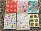 Lot of Adorable Vintage 80s Hallmark 3M Sticker Sheets Candy Bears Dogs