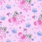 Fabric Baby Elephants Owls on Pink Flannel by the 1 4 yard