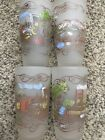 Currier And Ives Frosted Tumbler Barware Glasses Set Of (4)