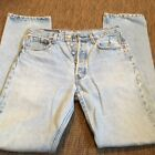 Vintage Mens Red Tab 501 LEVIS Button Fly Blue Jeans Denim Light Wash 32x34 MJ37