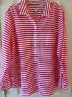 OLD NAVY Womens Popover Shirt Sz XL Pink White Stripe Long Sleeves Cotton
