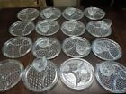 28pc 1950's Sectioned Glass Cake Plates and Cup Set