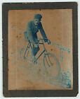 RARE Early Cyanotype Photo 1899 Glenn Curtiss on Bicycle Pre Motorcycle Airplane