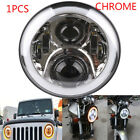 CH 7 Round LED Headlight Halo Ring Angel Eyes DRL Light for Jeep Wrangler JK