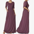 TheMogan S~3X 1/2 Short Sleeve Shirred Viscose Jersey Round Neck Long Maxi Dress