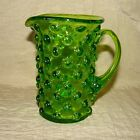 Vtg Hobnail Green Pressed ? Glass Syrup Cream Sauce Pitcher Flower Vase
