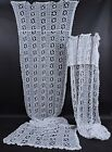 ANTIQUE HAND MADE LACE LONG 10 + FOOT CURTAINS DRAPES FR ITALIAN MANSION