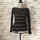 a.n.a Womens Sz M Long Sleeve Scoop Neck Sweaer Nwot Black Silver Sequins