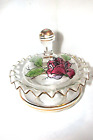 BEAUTIFUL VINTAGE GLASS BOWEL,DECORATED WITH ROSE ,LID