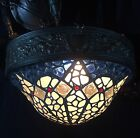 GORGEOUS Antique French - Late Art Nouveau Chandelier w/ Chunk Glass Dome