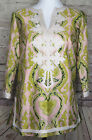 J Crew Womens Top Blouse Pink  Green Silk Fresco Embroidered Tunic Sz 2 A3