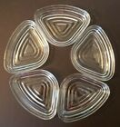 Depression Glass Manhattan Anchor Hocking CLEAR Relish Tray Inserts Set of 5 EUC