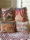 Set of 4 Primitive Americana Flag July 4th Bowl Fillers Ornies Vintage Hare