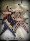 Set of 4 Primitive Americana Star July 4th Bowl Fillers Ornies Vintage Hare