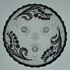 Vintage Sterling Overlay Glass Floral Design Frosted Glass Candy Nut Dish