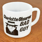 VTG Charlotte Observer Newspaper Bad Guy Federal Milk Glass Coffee Tea Mug Cup
