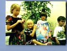 FOUND COLOR PHOTO H+1003 KIDS POSED BY GIRL HOLDING BARBOE DOLL AND HORSE IN BOX