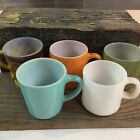 5 Diff. Color Milk Glass Federal Stacking Mugs Fire King Blue Turquoise Kimberly