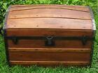 Refinished Antique Rustic Victorian Dome Top Wood Slat Steamer Trunk Chest