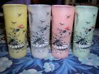 4 Pastel Frosted Glasses Southern Belle with Parasol vintage Anchor Hocking