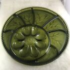 Vintage Indiana Glass Green Deviled Egg Relish Divided serving Tray Dish