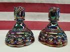 Vintage Moon and Star Dark Red Carnival Candlestick Candle Holders